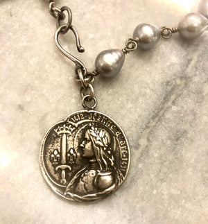 Joan of Arc Coin Pearl Necklace/Bracelet