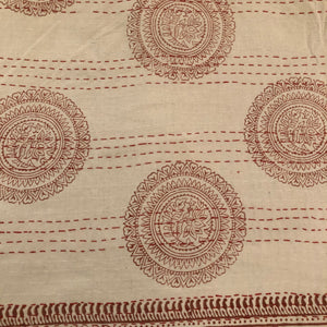 Handmade Organic Cotton Indian Block Print Kantha Quilt Red