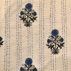 Handmade Organic Cotton Indian Block Print Kantha Quilt Blue-White