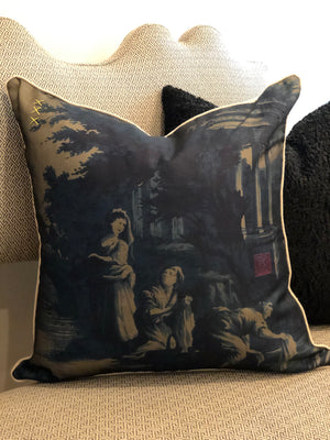 Toile Pillow in Navy 1