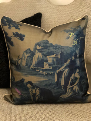 Toile Pillow in Navy 2