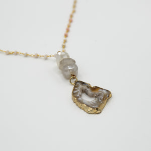 Spinel, Quartz & Druzy Necklace