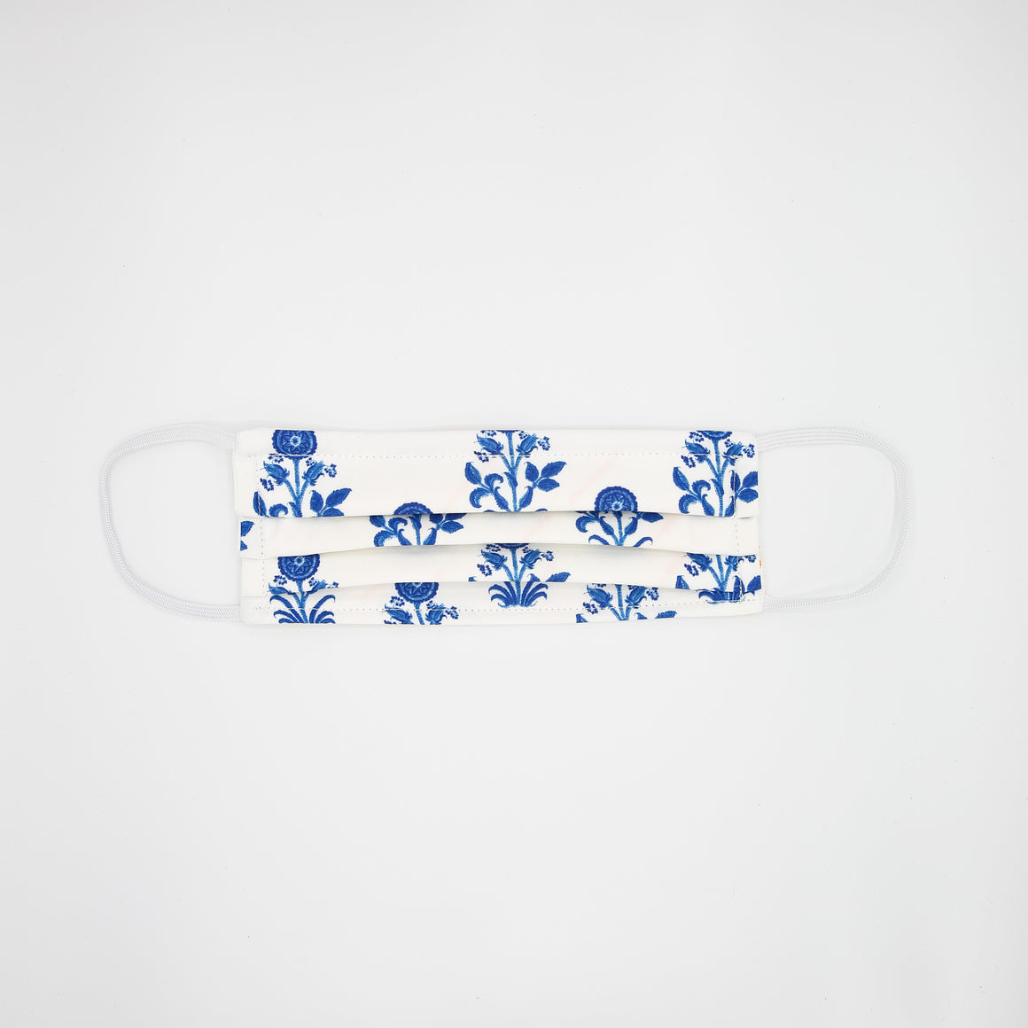 White & Blue Floral Mask
