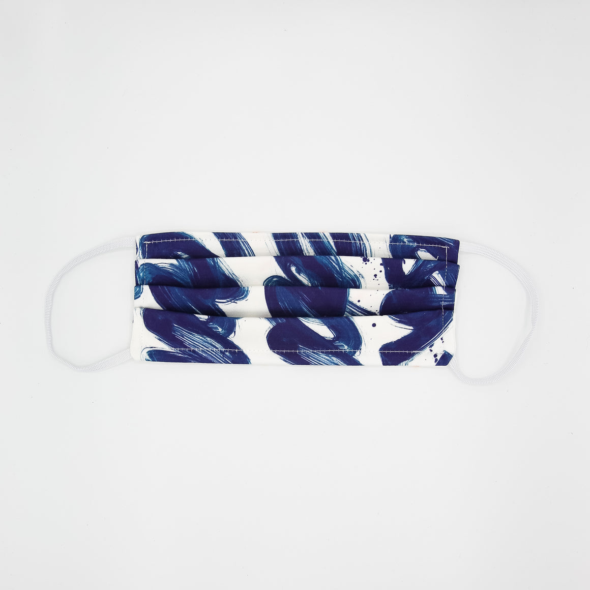 White & Navy Textile Mask