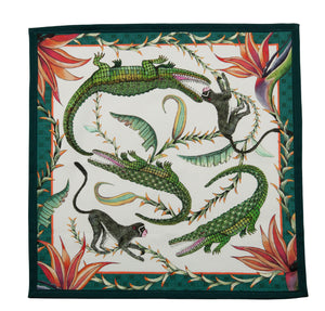 Alligator and Monkey Dinner Napkin, White