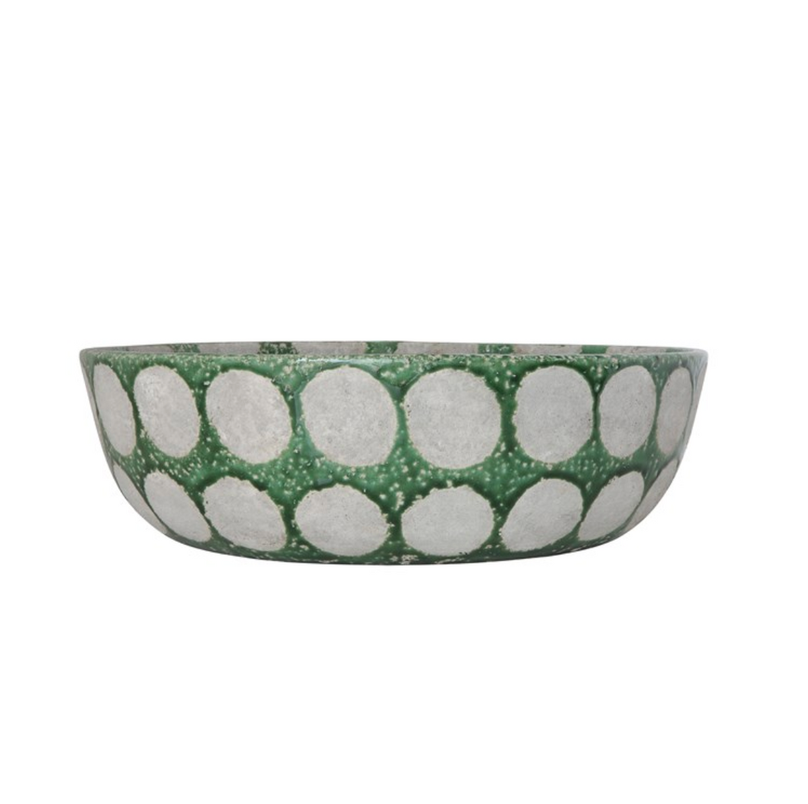 Large Green Terracotta Bowl with Dots