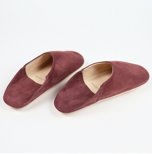 Babouche Suede Slippers- Oxblood