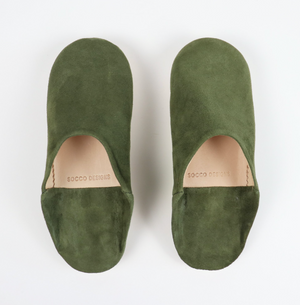 Babouche Suede Slippers- Olive