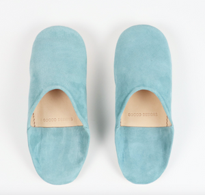 Babouche Suede Slippers- Turquoise