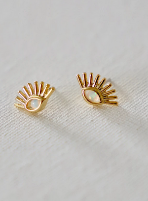 Evil Eye Opal Stud Earrings