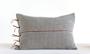 Ticking Stripe and Leather Pillow