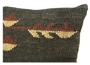 Handwoven Jute and Wool Kilim Pillow