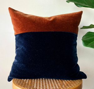 Navy & Rust Color Block Mohair Pillow
