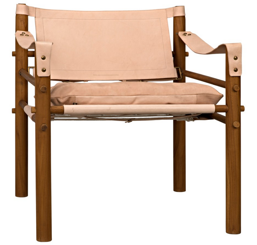Teak and Natural Leather Chair with Upholstered Cushion