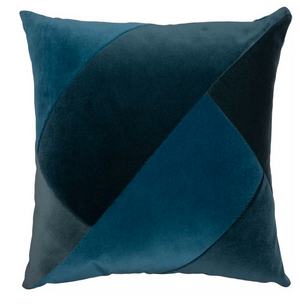 Cool Blue Velvet Colorblock Pillow