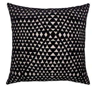 Black Velvet Pillow with Triangle Cutouts