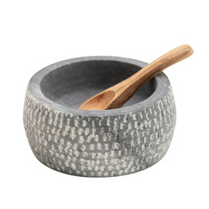 Granite Salt Bowl with Wood Spoon