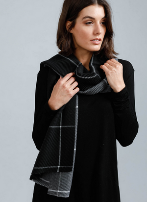 Reversible Black and Charcoal Scarf
