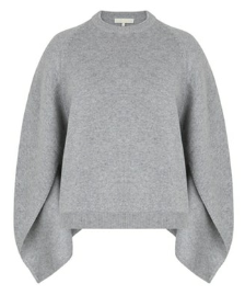 Wool Blend Sweater Cape in Grey