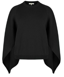 Wool Blend Sweater Cape in Black