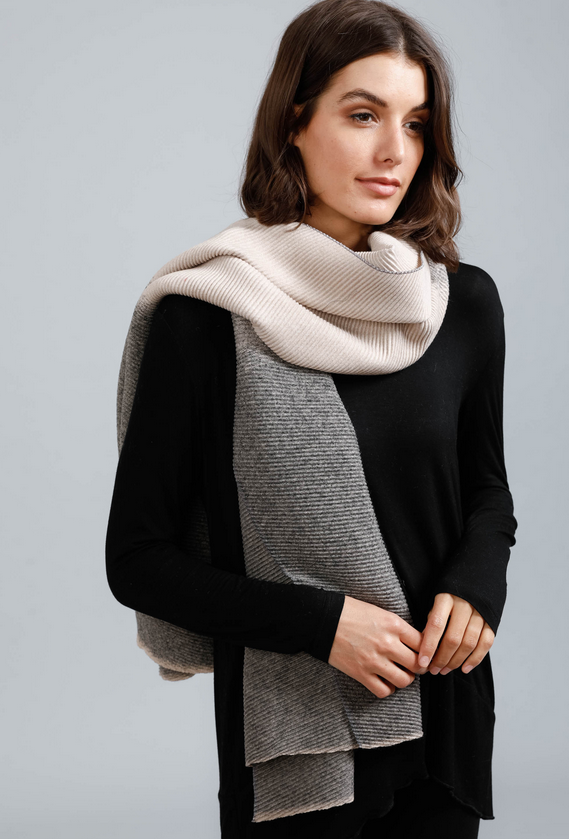 Two Tone Grey and Tan Scarf