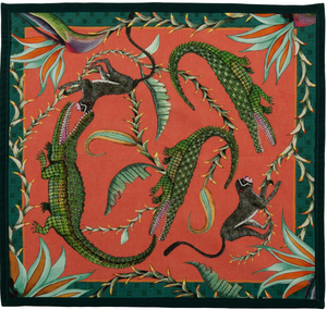 Alligator and Monkey Dinner Napkin, Coral