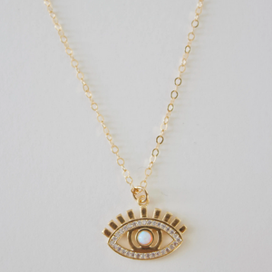 Opal Sparkle Evil Eye Necklace