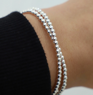 Sterling Silver Beaded Double Wrap Bracelet