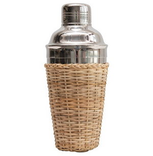 Woven Rattan and Stainless Steel Cocktail Shaker