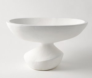 Large White Bowl on Stand
