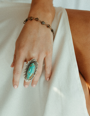 Large Oval Vintage Turquoise and Silver Ring
