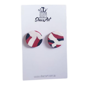 Black, Red & White Jumbo Studs