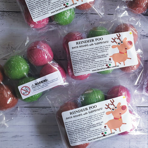 REINDEER POO Christmas Edition - Mini Kids Surprise Bath Bombs - 6 pack