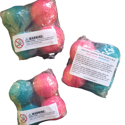 Mini Kids Surprise Bath Bombs - 4 pack (Blue + Pink)