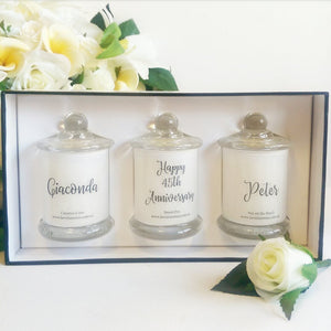 6 x Personalised Small Candle Trio Gift Pack