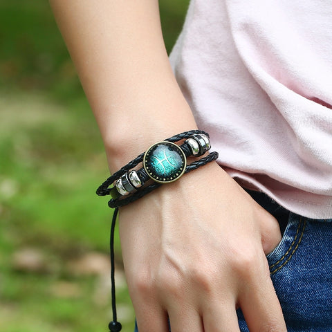 12 Constellations Leather Zodiac Sign with Beads Bangle Bracelets - Coach K Mart