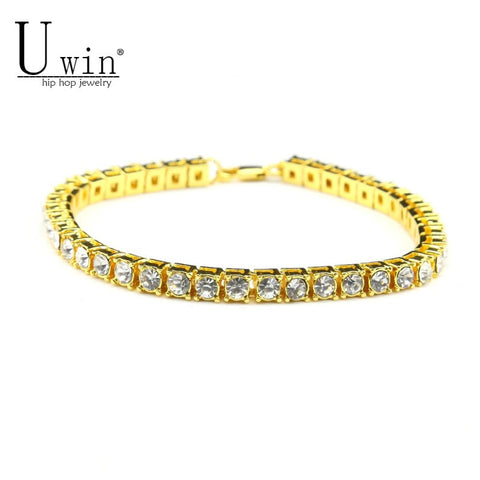 UWIN Silver/Gold Iced Out 1 Row Rhinestones Chain Bling Crystal Bracelets - Coach K Mart