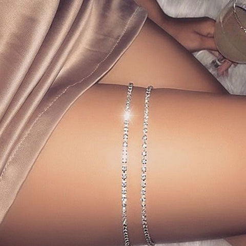 Shining Crystal Thigh Chain Gold-color Women's Leg Body Chain - Coach K Mart