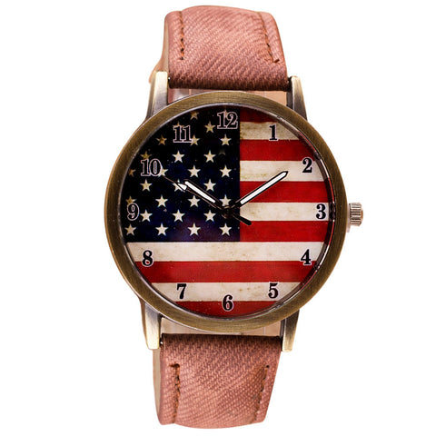 Analog unisex American Flag pattern wristwatches leather band - Coach K Mart