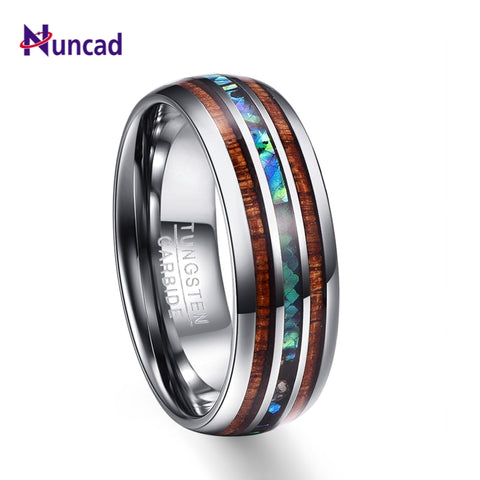 Nuncad Hawaiian Koa Wood and Abalone Shell Wedding Band For Men - Coach K Mart
