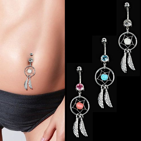 Sexy Stainless Steel Round Dangle Navel Belly Button Rings - Coach K Mart
