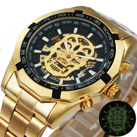 Steampunk Golden Skeleton Mechanical Men's Watch Top Brand Luxury Man Watch - Coach K Mart