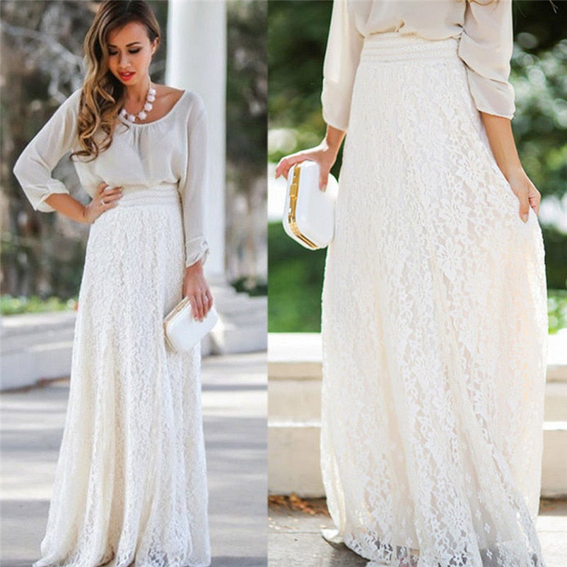 ecdb655b64 Angelic Lace Double Layer Long Skirt – ANAHABIBA