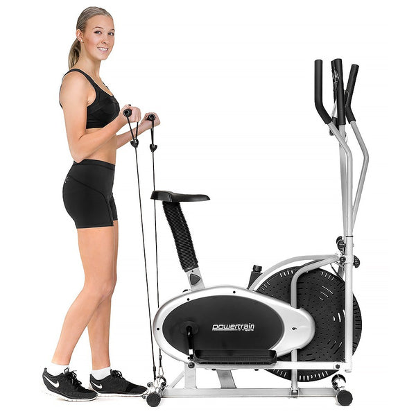 2-in-1 elliptical cross trainer and exercise bike home gym with person