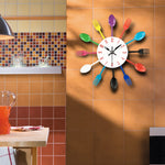 Creative Fork And Spoon Metal Kitchen Wall Clock