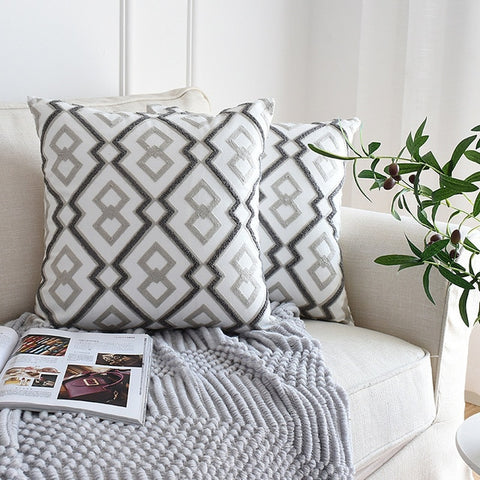 Nordic Geometric Emboridered Pillow Cover