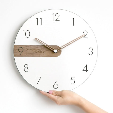 Modern Minimalist Nordic Black Walnut Pointer Wall Clock