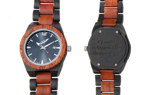 Men's Personalized Engrave Ebony & Rosewood Watches - Custom Engraving