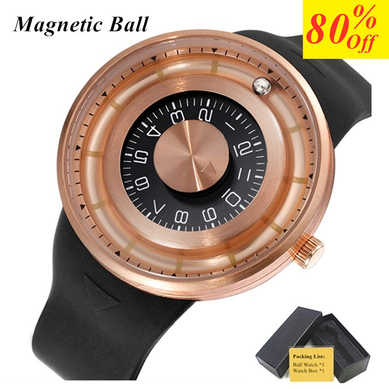 Magnetic Ball Wrist Watch Mens Watches Top Brand Luxury Creative Rotation Dial Silicone Waterproof Sport Casual Quartz Watch