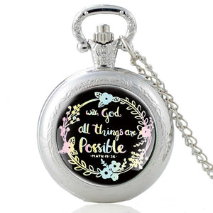 With God All thing Are Possible  (Math 46:5) Bible Quote Faith Quartz Pocket Watch Bible Verse Necklace Christian Party Gift